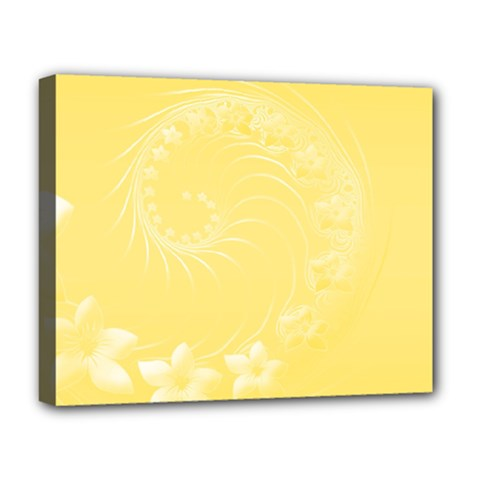 Yellow Abstract Flowers Deluxe Canvas 20  X 16  (framed) by BestCustomGiftsForYou
