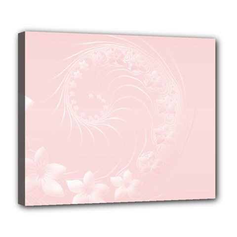 Light Pink Abstract Flowers Deluxe Canvas 24  X 20  (framed)