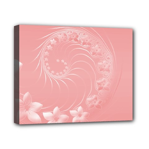 Pink Abstract Flowers Canvas 10  X 8  (framed)