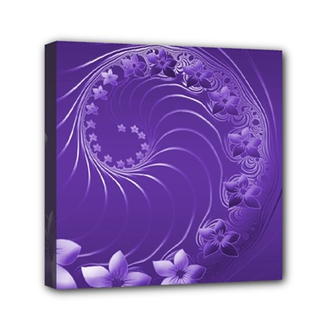 Violet Abstract Flowers Mini Canvas 6  X 6  (framed) by BestCustomGiftsForYou