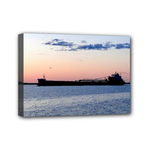 Ship Sunset Mini Canvas 7  X 5  (framed) by MaxsGiftBox