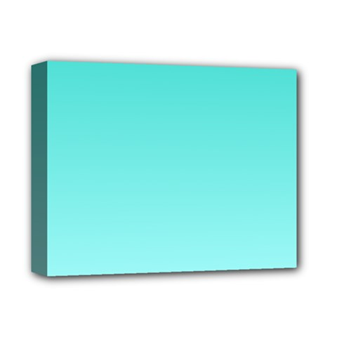 Turquoise To Celeste Gradient Deluxe Canvas 14  X 11  (framed) by BestCustomGiftsForYou