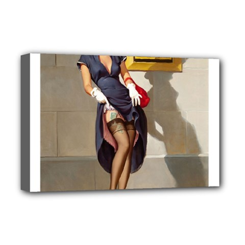 Retro Pin Up Girl Deluxe Canvas 18  X 12  (framed) by PinUpGallery