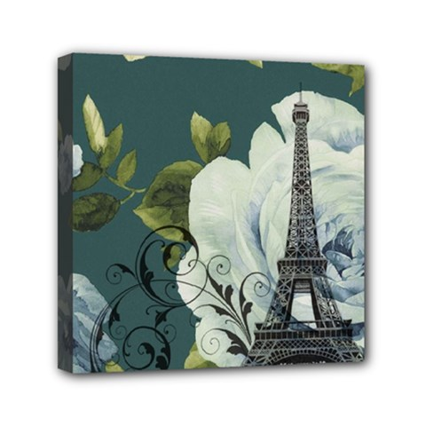 Blue Roses Vintage Paris Eiffel Tower Floral Fashion Decor Mini Canvas 6  X 6  (framed)
