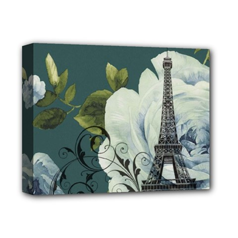 Blue Roses Vintage Paris Eiffel Tower Floral Fashion Decor Deluxe Canvas 14  X 11  (framed) by chicelegantboutique