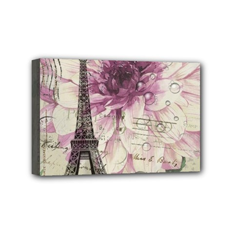 Purple Floral Vintage Paris Eiffel Tower Art Mini Canvas 6  X 4  (framed)