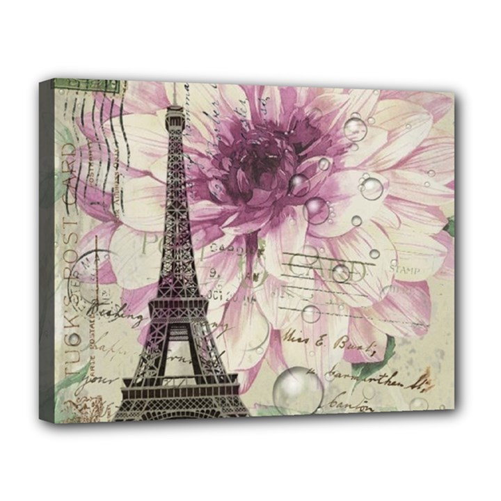 Purple Floral Vintage Paris Eiffel Tower Art Canvas 14  x 11  (Framed)