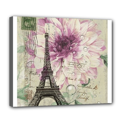 Purple Floral Vintage Paris Eiffel Tower Art Deluxe Canvas 24  X 20  (framed) by chicelegantboutique
