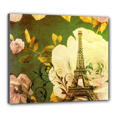 Floral Eiffel Tower Vintage French Paris Canvas 24  X 20  (framed)