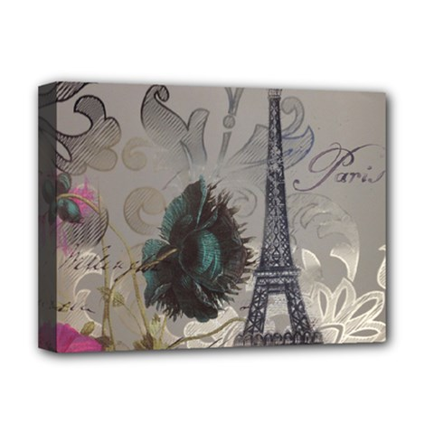 Floral Vintage Paris Eiffel Tower Art Deluxe Canvas 16  X 12  (framed)  by chicelegantboutique