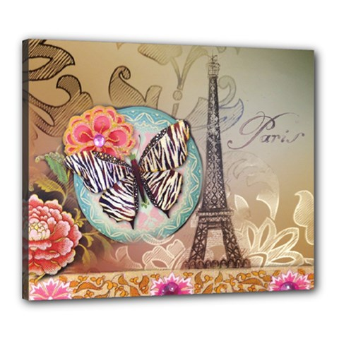 Fuschia Flowers Butterfly Eiffel Tower Vintage Paris Fashion Canvas 24  X 20  (framed) by chicelegantboutique