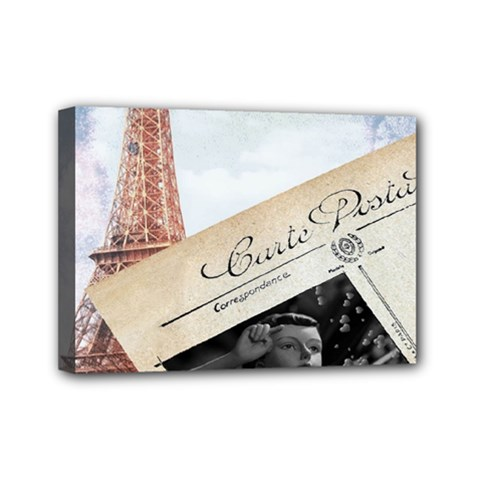 French Postcard Vintage Paris Eiffel Tower Mini Canvas 7  X 5  (framed) by chicelegantboutique