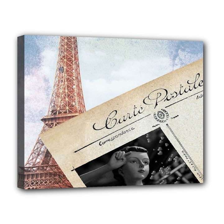 French Postcard Vintage Paris Eiffel Tower Canvas 14  x 11  (Framed)