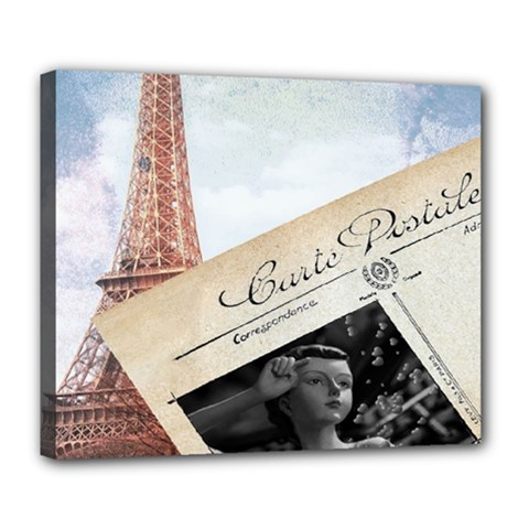 French Postcard Vintage Paris Eiffel Tower Deluxe Canvas 24  X 20  (framed) by chicelegantboutique