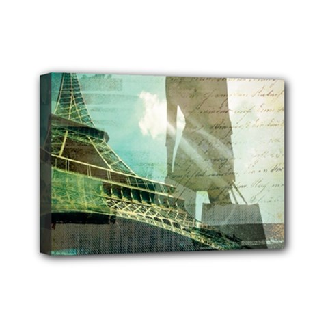 Modern Shopaholic Girl  Paris Eiffel Tower Art  Mini Canvas 7  X 5  (framed) by chicelegantboutique