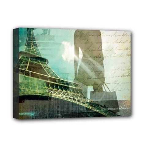 Modern Shopaholic Girl  Paris Eiffel Tower Art  Deluxe Canvas 16  X 12  (framed)  by chicelegantboutique