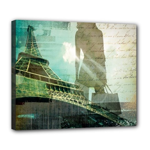 Modern Shopaholic Girl  Paris Eiffel Tower Art  Deluxe Canvas 24  X 20  (framed) by chicelegantboutique