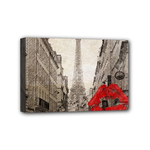 Elegant Red Kiss Love Paris Eiffel Tower Mini Canvas 6  X 4  (framed)