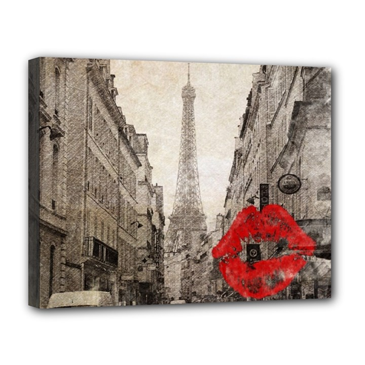 Elegant Red Kiss Love Paris Eiffel Tower Canvas 14  x 11  (Framed)