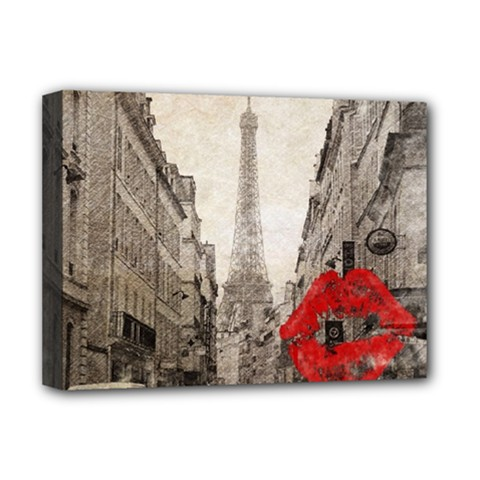 Elegant Red Kiss Love Paris Eiffel Tower Deluxe Canvas 16  X 12  (framed)  by chicelegantboutique