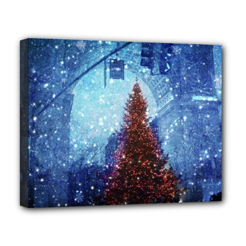 Elegant Winter Snow Flakes Gate Of Victory Paris France Deluxe Canvas 20  X 16  (framed) by chicelegantboutique
