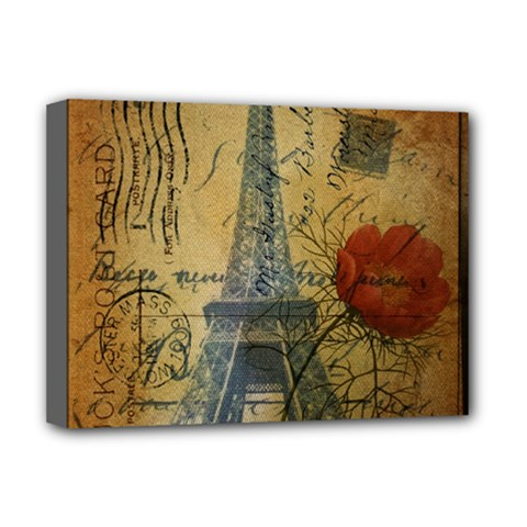 Vintage Stamps Postage Poppy Flower Floral Eiffel Tower Vintage Paris Deluxe Canvas 16  X 12  (framed)  by chicelegantboutique