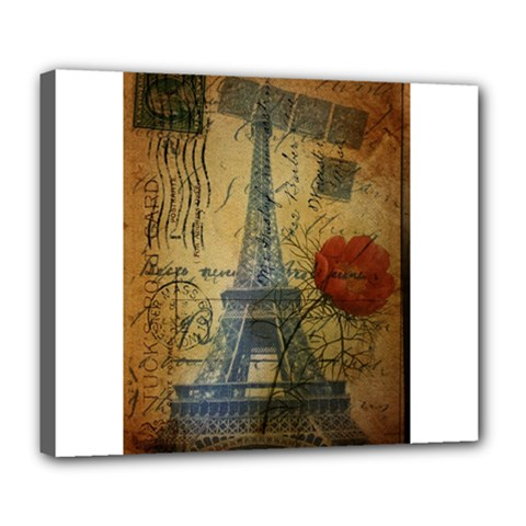 Vintage Stamps Postage Poppy Flower Floral Eiffel Tower Vintage Paris Deluxe Canvas 24  X 20  (framed) by chicelegantboutique