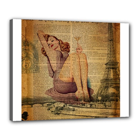 Vintage Newspaper Print Pin Up Girl Paris Eiffel Tower Canvas 20  X 16  (framed) by chicelegantboutique