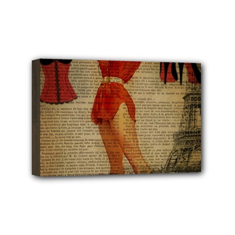 Vintage Newspaper Print Sexy Hot Gil Elvgren Pin Up Girl Paris Eiffel Tower Western Country Naughty  Mini Canvas 6  X 4  (framed) by chicelegantboutique