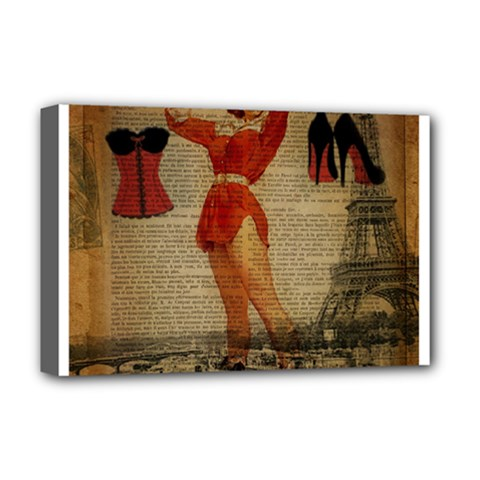 Vintage Newspaper Print Sexy Hot Gil Elvgren Pin Up Girl Paris Eiffel Tower Western Country Naughty  Deluxe Canvas 18  X 12  (framed) by chicelegantboutique