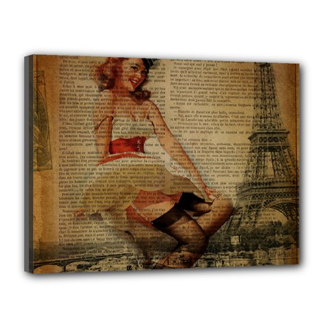 Cute Sweet Sailor Dress Vintage Newspaper Print Sexy Hot Gil Elvgren Pin Up Girl Paris Eiffel Tower Canvas 16  X 12  (framed) by chicelegantboutique
