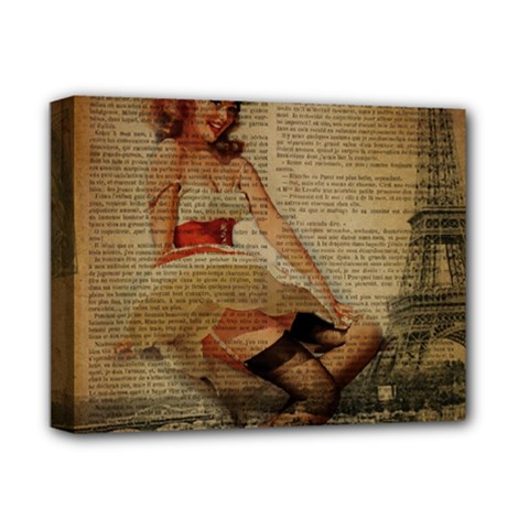 Cute Sweet Sailor Dress Vintage Newspaper Print Sexy Hot Gil Elvgren Pin Up Girl Paris Eiffel Tower Deluxe Canvas 14  X 11  (framed) by chicelegantboutique