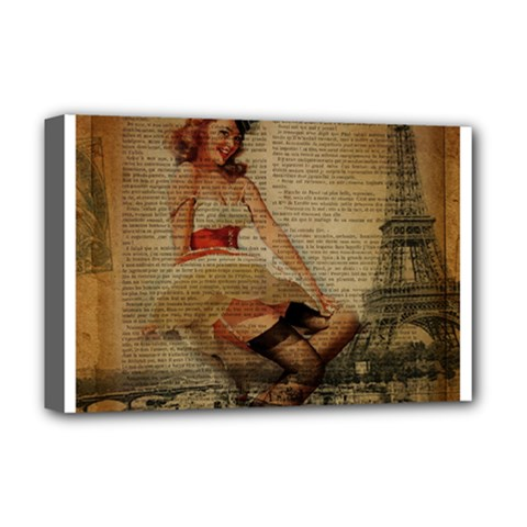 Cute Sweet Sailor Dress Vintage Newspaper Print Sexy Hot Gil Elvgren Pin Up Girl Paris Eiffel Tower Deluxe Canvas 18  X 12  (framed) by chicelegantboutique