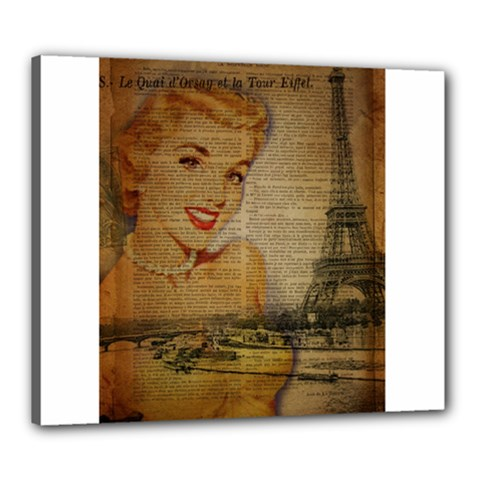 Yellow Dress Blonde Beauty   Canvas 24  X 20  (framed) by chicelegantboutique