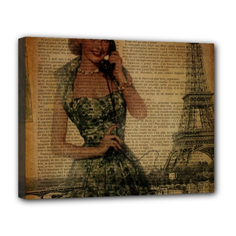 Retro Telephone Lady Vintage Newspaper Print Pin Up Girl Paris Eiffel Tower Canvas 14  X 11  (framed)