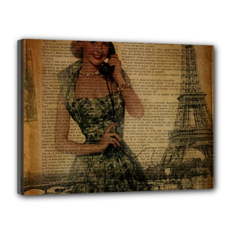 Retro Telephone Lady Vintage Newspaper Print Pin Up Girl Paris Eiffel Tower Canvas 16  X 12  (framed)