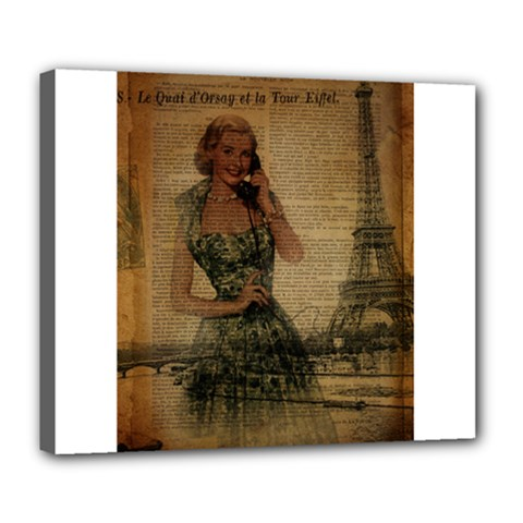 Retro Telephone Lady Vintage Newspaper Print Pin Up Girl Paris Eiffel Tower Deluxe Canvas 24  X 20  (framed) by chicelegantboutique