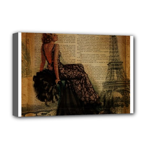 Elegant Evening Gown Lady Vintage Newspaper Print Pin Up Girl Paris Eiffel Tower Deluxe Canvas 18  X 12  (framed) by chicelegantboutique