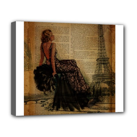 Elegant Evening Gown Lady Vintage Newspaper Print Pin Up Girl Paris Eiffel Tower Deluxe Canvas 20  X 16  (framed) by chicelegantboutique
