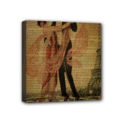 Vintage Paris Eiffel Tower Elegant Dancing Waltz Dance Couple  Mini Canvas 4  X 4  (framed)
