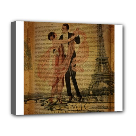 Vintage Paris Eiffel Tower Elegant Dancing Waltz Dance Couple  Deluxe Canvas 20  X 16  (framed) by chicelegantboutique