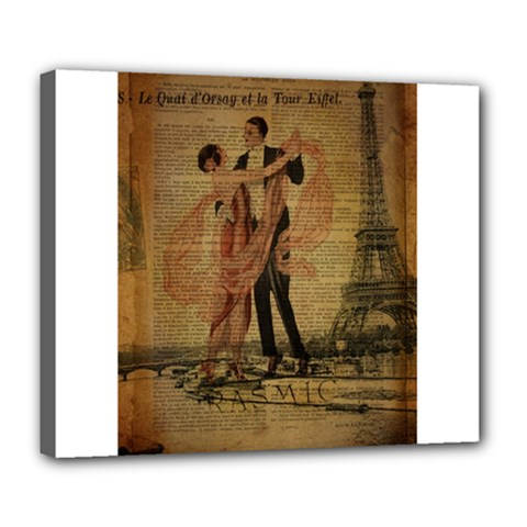 Vintage Paris Eiffel Tower Elegant Dancing Waltz Dance Couple  Deluxe Canvas 24  X 20  (framed) by chicelegantboutique