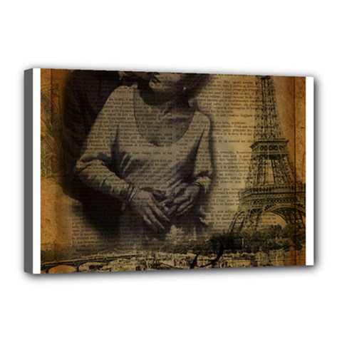 Romantic Kissing Couple Love Vintage Paris Eiffel Tower Canvas 18  X 12  (framed) by chicelegantboutique