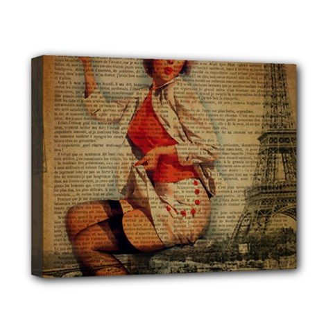 Vintage Newspaper Print Pin Up Girl Paris Eiffel Tower Funny Vintage Retro Nurse  Canvas 10  X 8  (framed) by chicelegantboutique