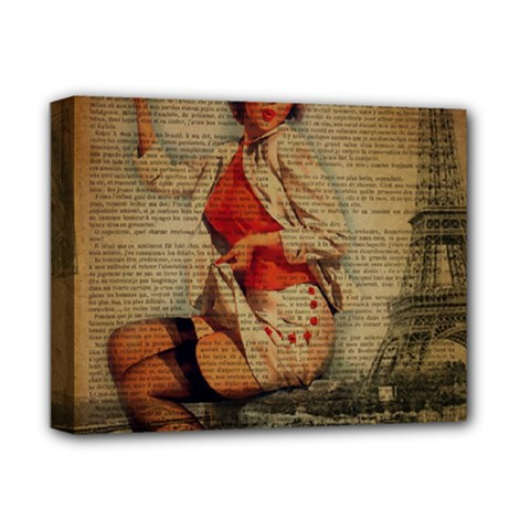 Vintage Newspaper Print Pin Up Girl Paris Eiffel Tower Funny Vintage Retro Nurse  Deluxe Canvas 14  X 11  (framed) by chicelegantboutique