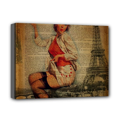 Vintage Newspaper Print Pin Up Girl Paris Eiffel Tower Funny Vintage Retro Nurse  Deluxe Canvas 16  X 12  (framed)  by chicelegantboutique