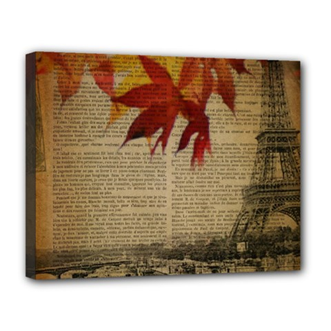 Elegant Fall Autumn Leaves Vintage Paris Eiffel Tower Landscape Canvas 14  X 11  (framed)