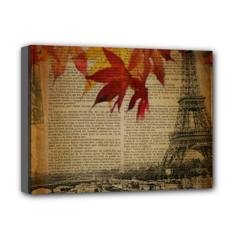Elegant Fall Autumn Leaves Vintage Paris Eiffel Tower Landscape Deluxe Canvas 16  X 12  (framed)  by chicelegantboutique