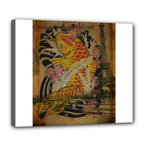 Funky Japanese Tattoo Koi Fish Graphic Art Deluxe Canvas 24  X 20  (framed)