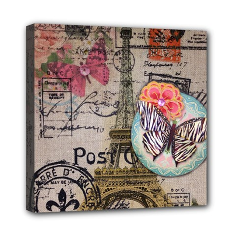 Floral Scripts Butterfly Eiffel Tower Vintage Paris Fashion Mini Canvas 8  X 8  (framed) by chicelegantboutique
